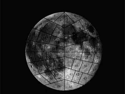 the Moon, divided into sections